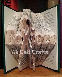 Cancer ribbon Believe  Book Folding Pattern by alicattcrafts