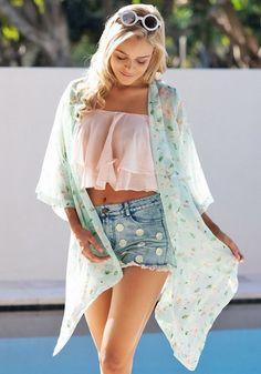 Sexy Women's Floral Printed Chiffon Blouse 3/4 Sleeve Chiffon Kimono Cardigan Tops Blouses Jacket Woman Beach Cover Up