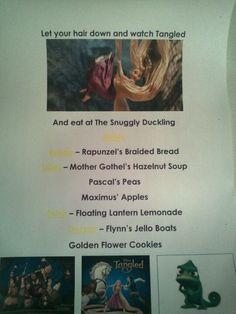 Disney Family Movie Night - Tangled menu