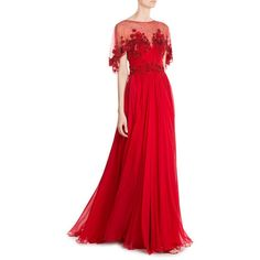 Zuhair Murad Embellished Evening Gown ($7,999) ❤ liked on Polyvore featuring dresses, gowns, rose dress, red ball gown, sheer evening gown, red evening dresses and red carpet gowns