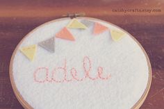 Personalized Embroidery Hoop Art. Children's Name Plaque. Felt Bunting. By Catshy Crafts
