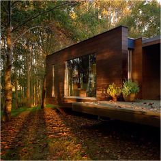a beautiful, energy-efficient house with land and woods