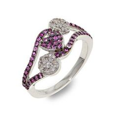Malakan Jewelry - Silver Pink Sapphire Ladies Ring  56383A5