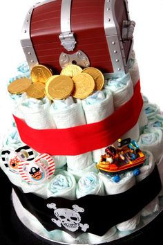 """""""Pirate style"""" nappy cake."""
