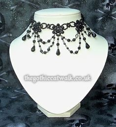 Black Beaded Victorian Gothic Choker Necklace #14 from The Gothic