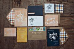 """Plaid Wedding Invitations...just note the envelope liners.   I think this plaid is too """"chunky"""" (and wrong colors)."""