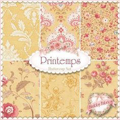 3 Sisters for Moda: Printemps Collection in Buttercup | Shabby Chic quilting…
