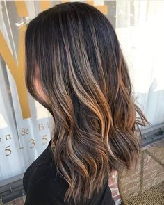 Dimensional golden bayalage on dark brunette base