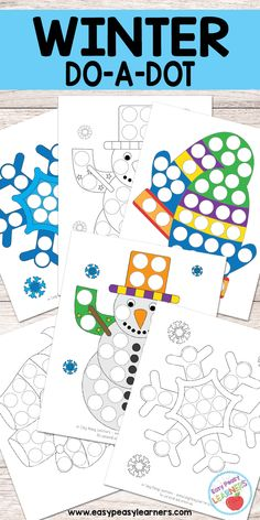 Free Winter Do a Dot Printables - Easy Peasy Learners Art Therapy Activities, Craft Activities For Kids, Winter Activities, January Crafts, Preschool Christmas, Preschool Winter, Do A Dot, Winter Art Projects, Preschool Crafts
