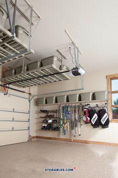 Garage Organization Tips, Garage Storage Solutions, Storage Ideas For Garage, Diy Storage, Attic Storage, Organizing A Garage, How To Organize Garage, Small Garage Ideas, Garage Storage Inspiration