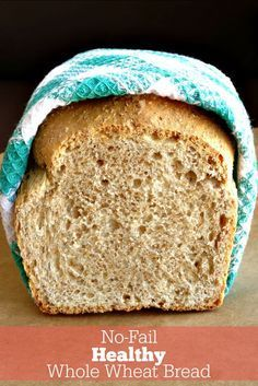 No-Fail Healthy Whole Wheat Bread Recipe. With this simple and delicious homemade bread recipe, you'll never buy store-bought bread again! Making your own bread is so much easier than you think and me(Bread Recipes Artisan) Healthy Homemade Bread, Healthy Bread Recipes, Baking Recipes, Healthy Breads, Homemade Recipe, Homemade Breads, Eating Healthy, Drink Recipes, Bread Machine Wheat Bread Recipe