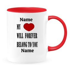 Personalized My Heart Forever Belongs To You Mug, Love You Forever Anniversary Gift, Valentine Gift For Hubby, Mother's Day Gift For Wife Valentines Gift For Hubby, Gifts For Hubby, Great Gifts For Women, Gifts For Wife, Valentine Gifts, Wife Birthday, Love You Forever, Inspirational Gifts, On Your Wedding Day