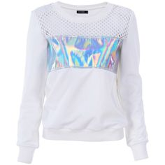 Holographic Print Hollow Sweatshirt (€42) ❤ liked on Polyvore featuring tops, hoodies, sweatshirts, sweaters, romwe, jumpers, patterned sweatshirts, sweatshirts hoodies, print top and hologram top