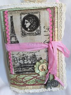 Handmade Vintage Paris Journal, Junk Journal, Travel Journal, Mixed Media,