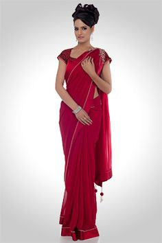 Red color plain georgette saree,A drape intrigued with fine craftsmanship along the borders delicately exuberates grace.,670