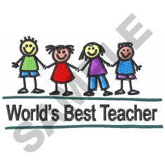 WORLDS BEST TEACHER embroidery design