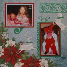 Baby Album 1 Inspiration: Christmas Eve.  The scroll border and corner are from Cricut's Storybook and the reindeer are from Joys of the Season. I also used a Fiskars border punch. (L)