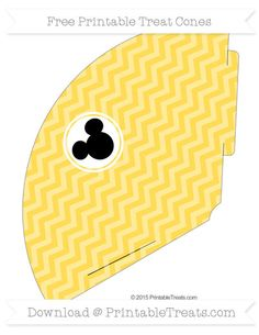 Free Mustard Yellow Chevron  Mickey Mouse Treat Cone