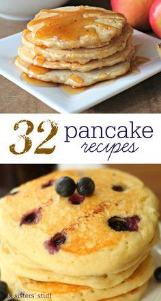 32 Pancake Recipes from SixSistersStuff.com