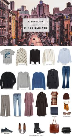 What to Pack for a Mixed Climate - livelovesara - What to pack for a mixed climate packing list Fall Packing List, Winter Packing, Weekend Packing, Packing Checklist, Winter Travel, Capsule Outfits, Capsule Wardrobe, Wardrobe Ideas, Travel Capsule