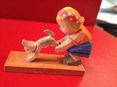 Erzgebirge Girl Cat Kitten Wooden Figurine Miniature Germany