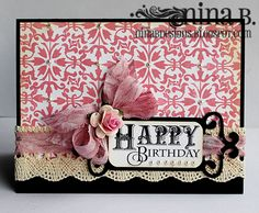 Elegant Happy Birthday by momtoggk - Cards and Paper Crafts at Splitcoaststampers Pretty Cards, Cute Cards, Happy Birthday Cards, Card Tags, Paper Cards, Arabesque, Creative Cards, Greeting Cards Handmade, Vintage Cards