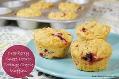 The cottage cheese in these Cranberry Sweet Potato Muffins give them an extra dose of protein to help keep you full!