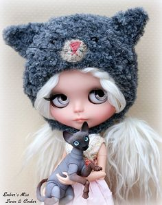 Cinder - cute cat girl pullip doll with white hair, silver or white eyes and a cat hat | Flickr - Photo Sharing!