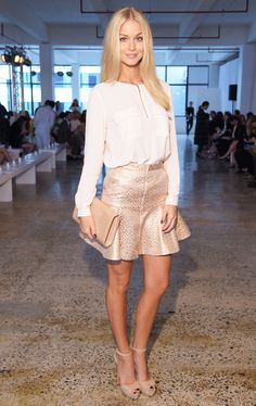 Summer : white blouse, pink metallic flared skirt, and nude heels