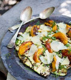 Grilled Summer Squash  Peach Salad with Manchego #LoveGeorgiaPeaches