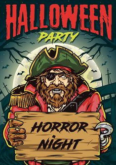 Colorful Halloween party poster vector design. Halloween Pirate vector poster design.