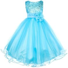 Sequin Bodice Tulle Special Occasion Holiday Flower Girl Dress - Aqua 5-6