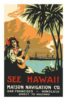 See Hawaii - Matson Navigation Co. - San Francisco Honolulu - Direct to Volcano - Hawaiian Girl Playing Ukulele - Giclée Art Prints & Posters