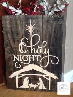 Handpainted O Holy night rustic pallet by PixieDustLouisville