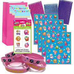 Party favor set for 12 shoppers. Shopkins inspired. 12 Favor Bags 24 Temporary Tattoos 12 Glitter Notepads 12 Sheets of Shopkins Stickers 12 Youth Cute Wristbands