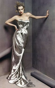 Natalia Vodianova by Steven Meisel for Vogue wearing a Nina Ricci Spring 2008 Silver Lame Dress designed by Olivier Theyskens