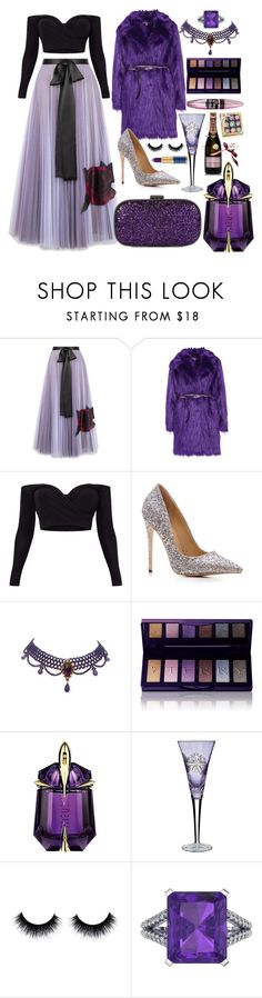 """Do you know why purple is so lush?!"" by pulseofthematter ❤ liked on Polyvore featuring Christopher Kane, Anya Hindmarch, By Terry, Thierry Mugler, Too Faced Cosmetics, Waterford, MoÃ«t & Chandon, Ferrucci and Balmain"