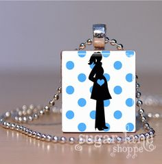 Cute Mommy-to-Be gift!  Pregnancy Necklace Blue Polka Dots It's A Boy by SugarLaneShoppe  $6.95