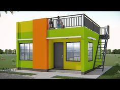 ARKIX3D - YouTube Modern House Floor Plans, 3d House Plans, Home Design Floor Plans, House Roof Design, Sims House Design, Modern Small House Design, Small Modern Home, Small Loft Apartments, House Construction Plan