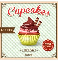 Cupcake cafe poster vector by macrovector on VectorStock®