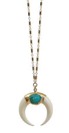 luna necklace - white + turquoise