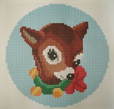 Vintage Christmas Bambi cross stitch needlepoint pdf