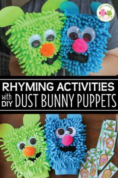 How to Make Silly Dust Bunny Puppets for Rhyming Words Activities