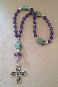 Handmade Anglican-Protestant prayer beads with natural stone beads.