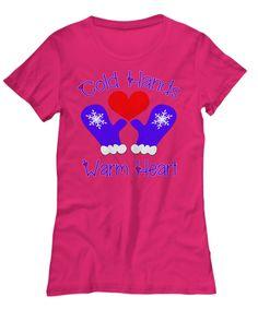Fun Winter Cold Hands Warm Heart women Tee Cold Hands, Hand Warmers, Comfy, Tees, Heart, Winter, Mens Tops, Christmas, T Shirt
