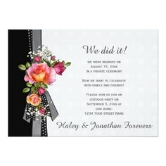Summer Wedding Reception Pink Roses Black White Ribbon Weddings Receptions Card