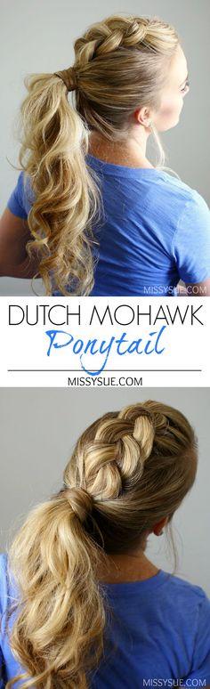 Dutch-Mohawk Ponytail tutorial Missysue Source by kayecoubert Mohawk Ponytail, Ponytail Hairstyles, Pretty Hairstyles, Girl Hairstyles, Braided Pigtails, Wedding Hairstyles, Fashion Hairstyles, Mowhawk Braid, Cheer Ponytail