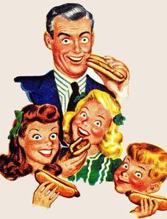 They REALLY love hot dogs. Kinda creepy Stepford family