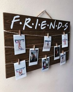 Friends TV Show Wood Picture / Polaroid Display Sign with Clips Source by krishmasirwan Tv: Friends, Friends Tv Show, Hygge, Polaroid Display, Polaroid Wall, Polaroids, Cool Dorm Rooms, Teen Rooms, Polaroid Pictures