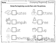 Stamping Beginning Sounds (from Miss Kindergarten, Winter Print and Go Pack)
